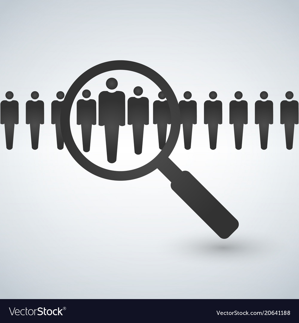 Magnifying glass seeking people job search and