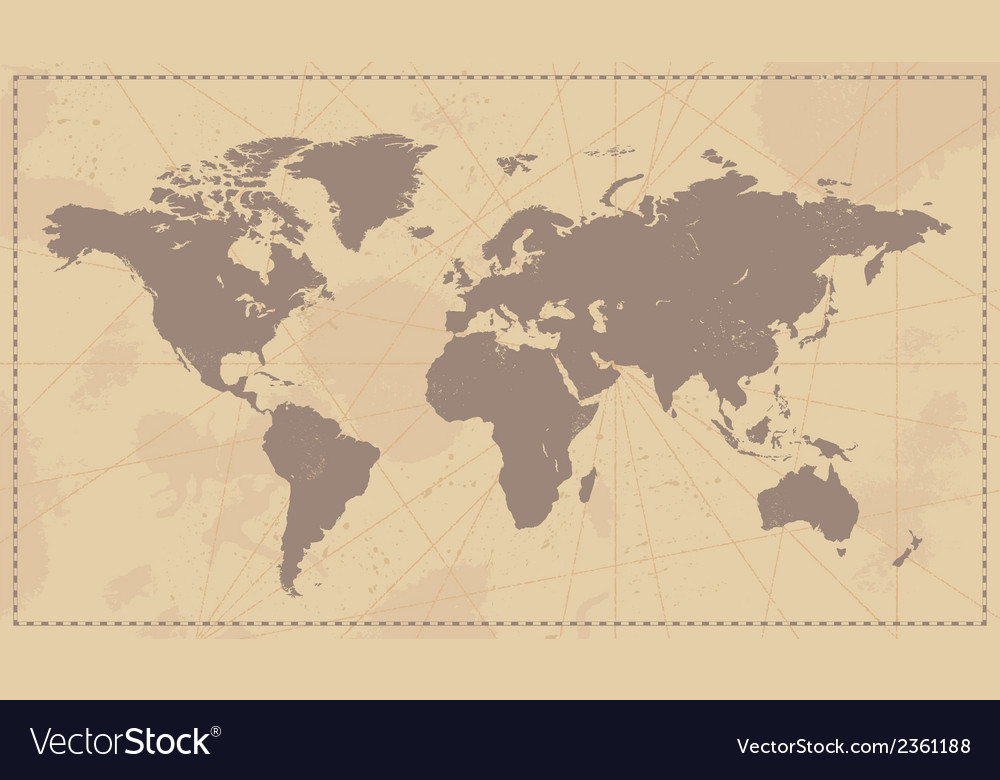 Old Vintage World Map Royalty Free Vector Image