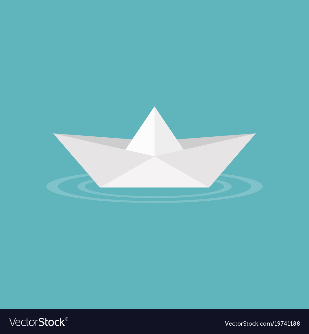 Paper Boat Origami On Water Wave Icon Royalty Free Vector
