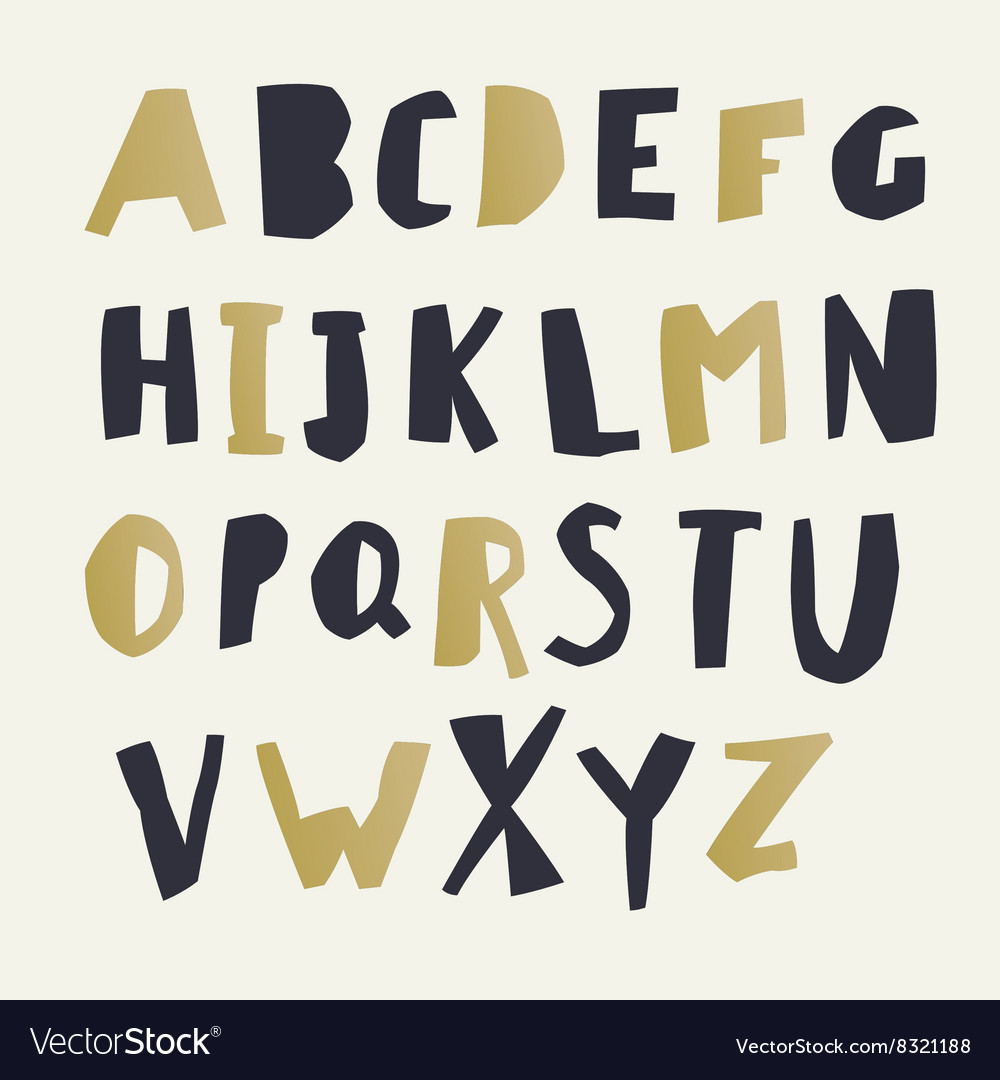 Paper Cut Alphabet Black and gold letters Easy