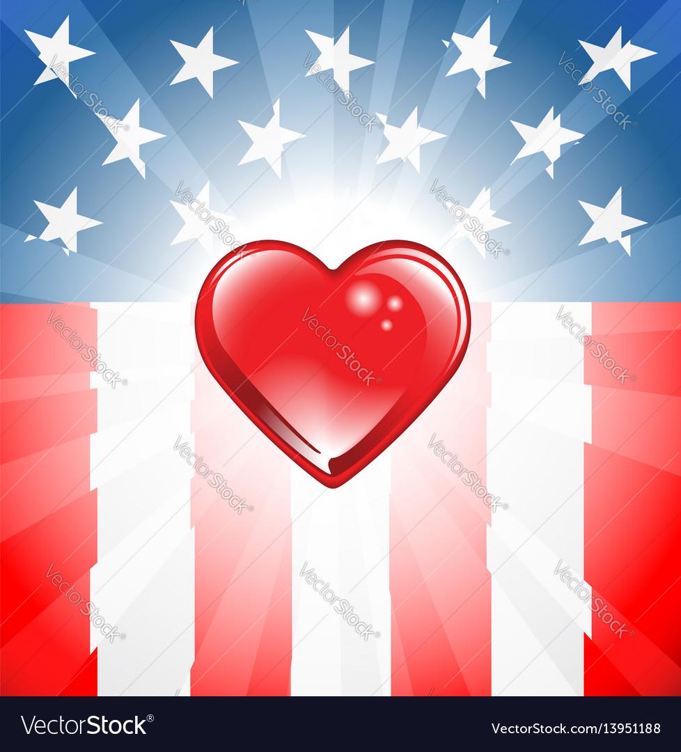 Patriotic heart background vector image