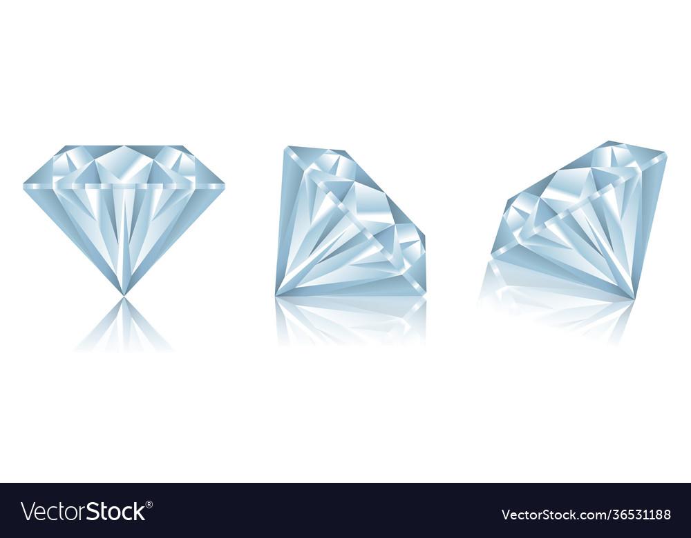 Set realistic diamonds with reflection