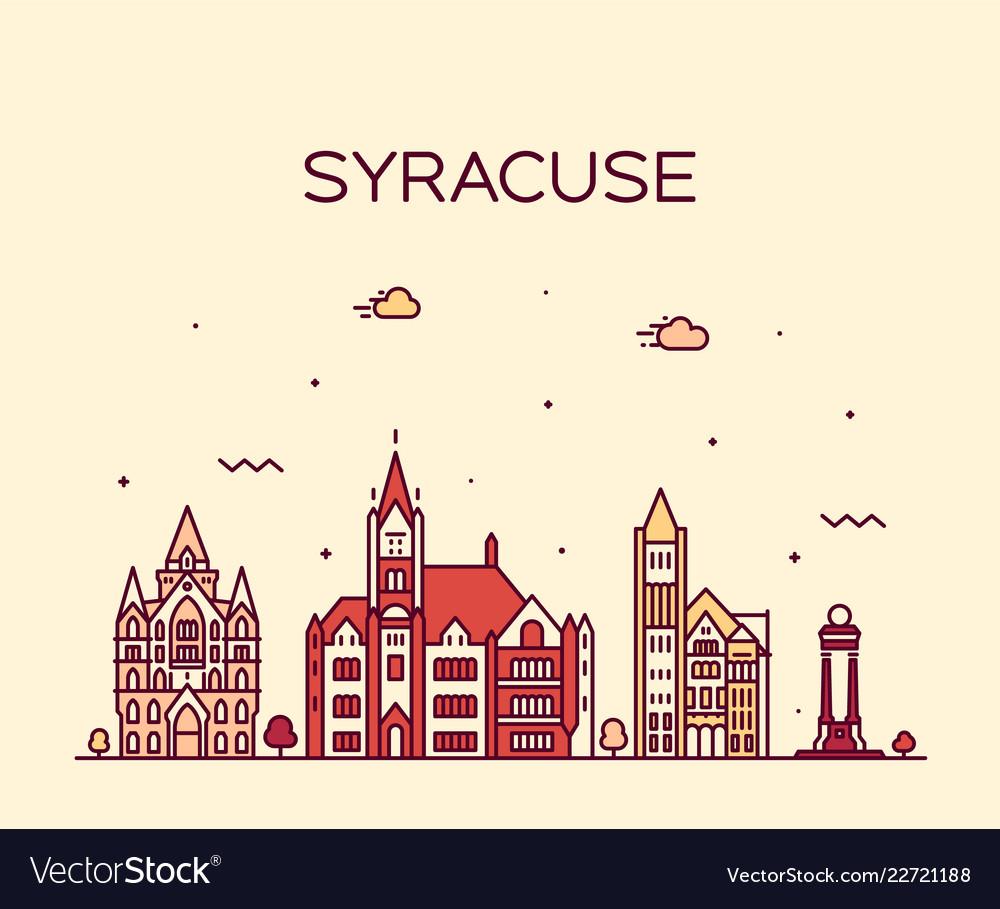 Syracuse skyline new york usa linear style