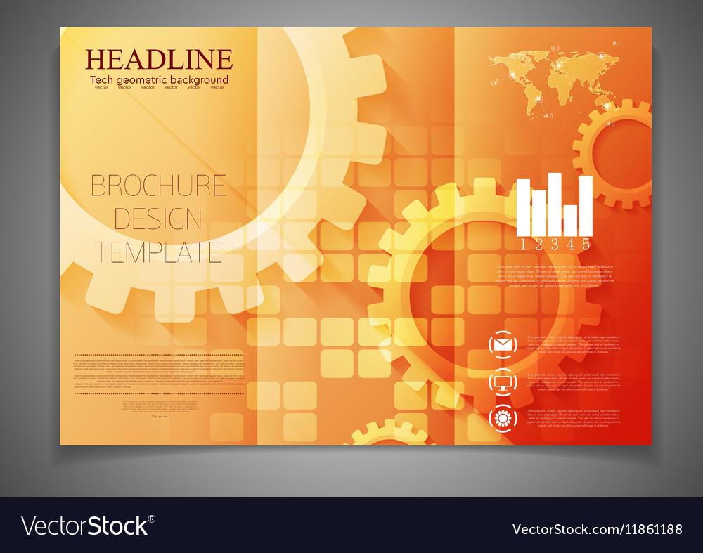 tri fold technology brochure design template vector image