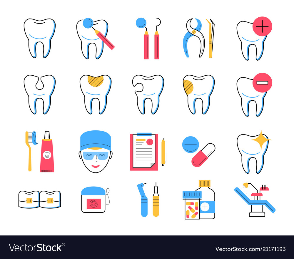 Dentistry icons set trendy linear style