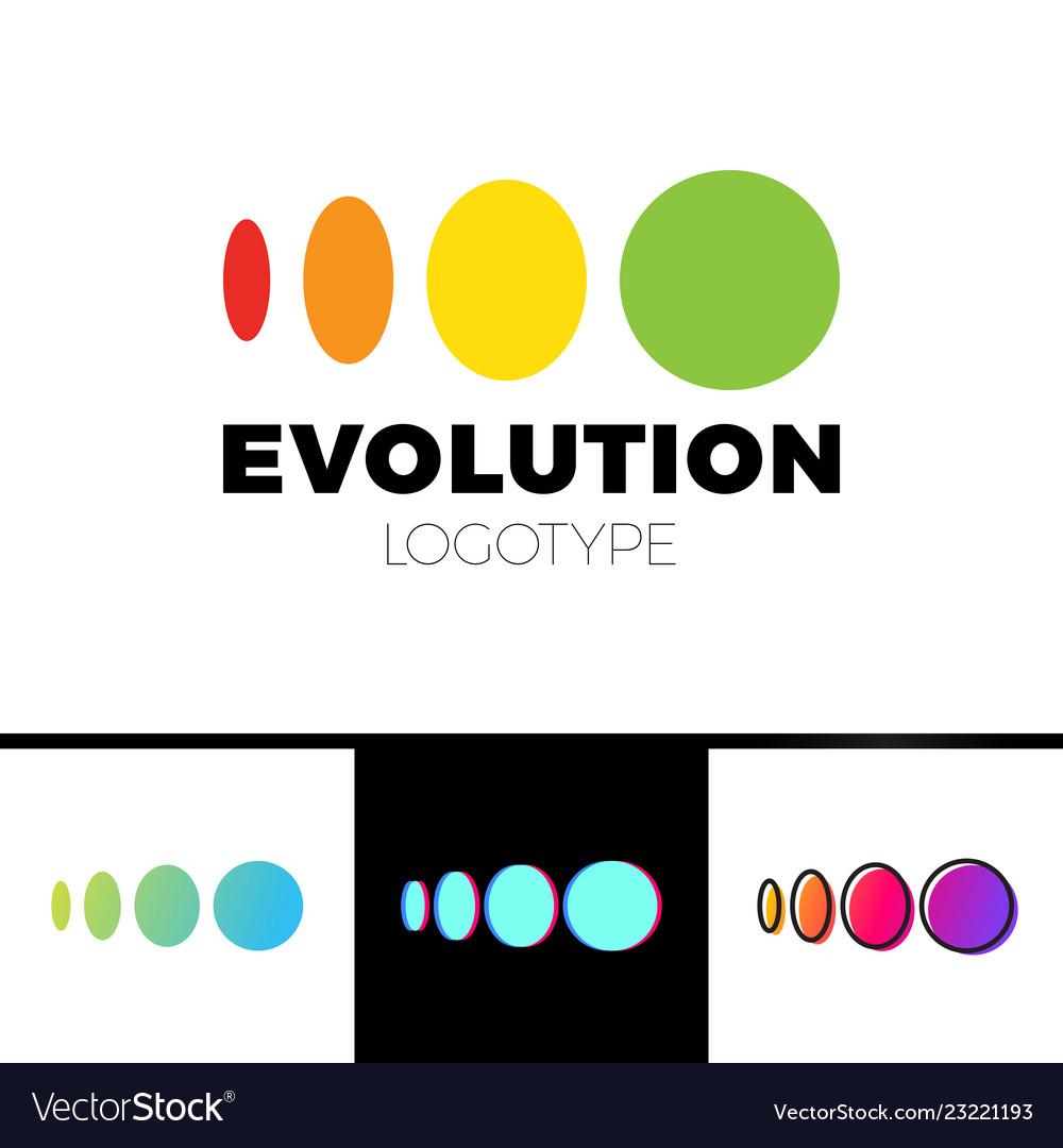 Four symbol from elipse to circle logo evolution