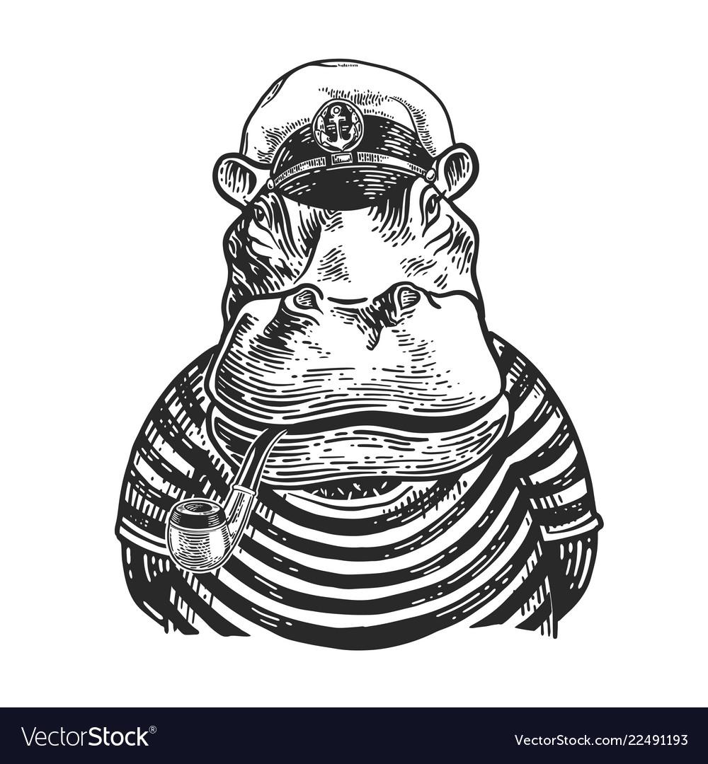 Hippo captain engraving