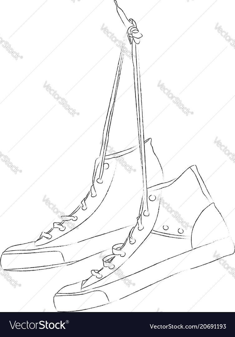 Pair of sneakers hanging on nail vector image