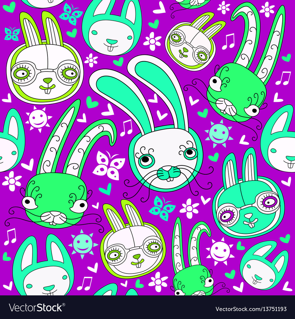 Seamless pattern with doodle rabbits