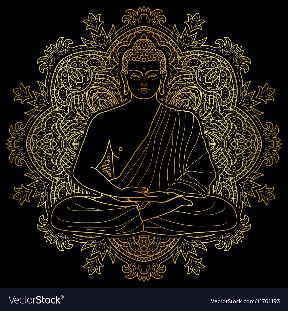 Seated meditating Gold Buddha