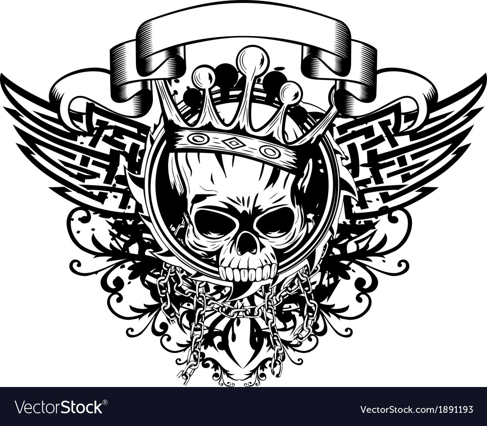 Skull in crown and abstract patterns vector image