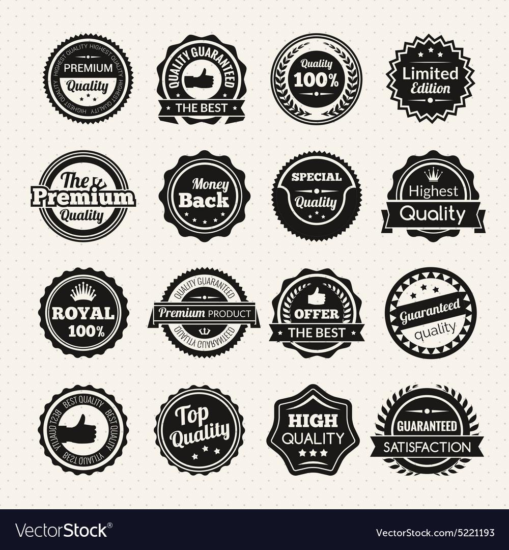 Vintage Premium Quality Black And White Badges vector image