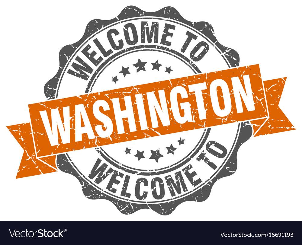 Washington round ribbon seal vector image