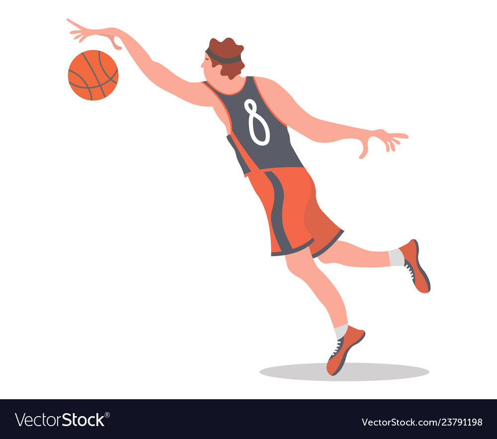 Basketball player jumping with a ball