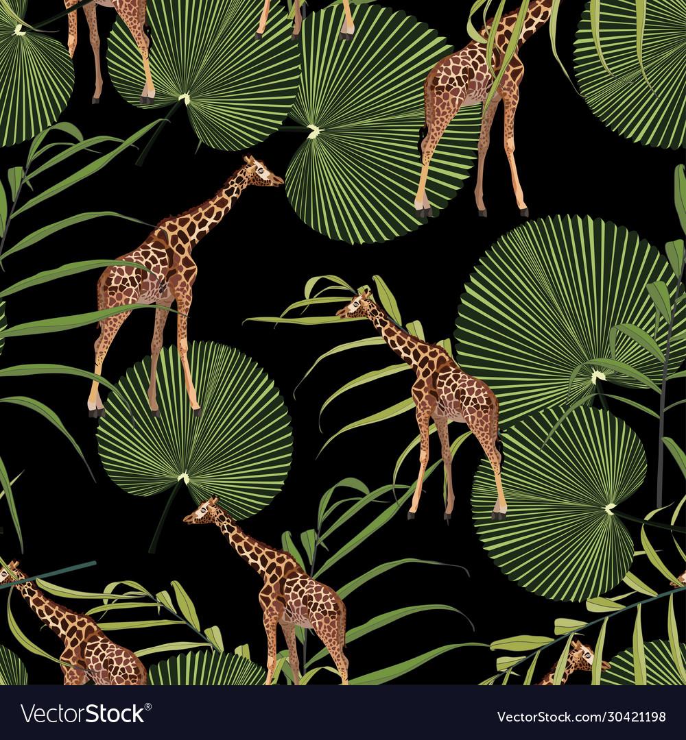 Beautiful tropical giraffe seamless pattern