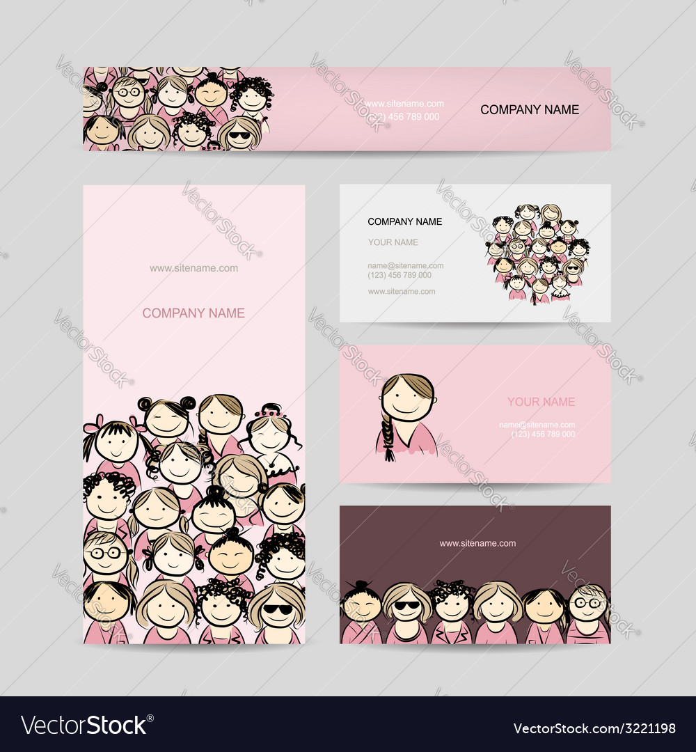 Business cards group of women sketch Royalty Free Vector