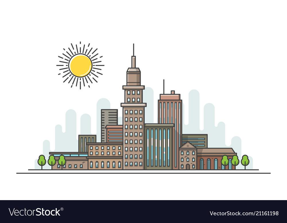Flat line city landscape