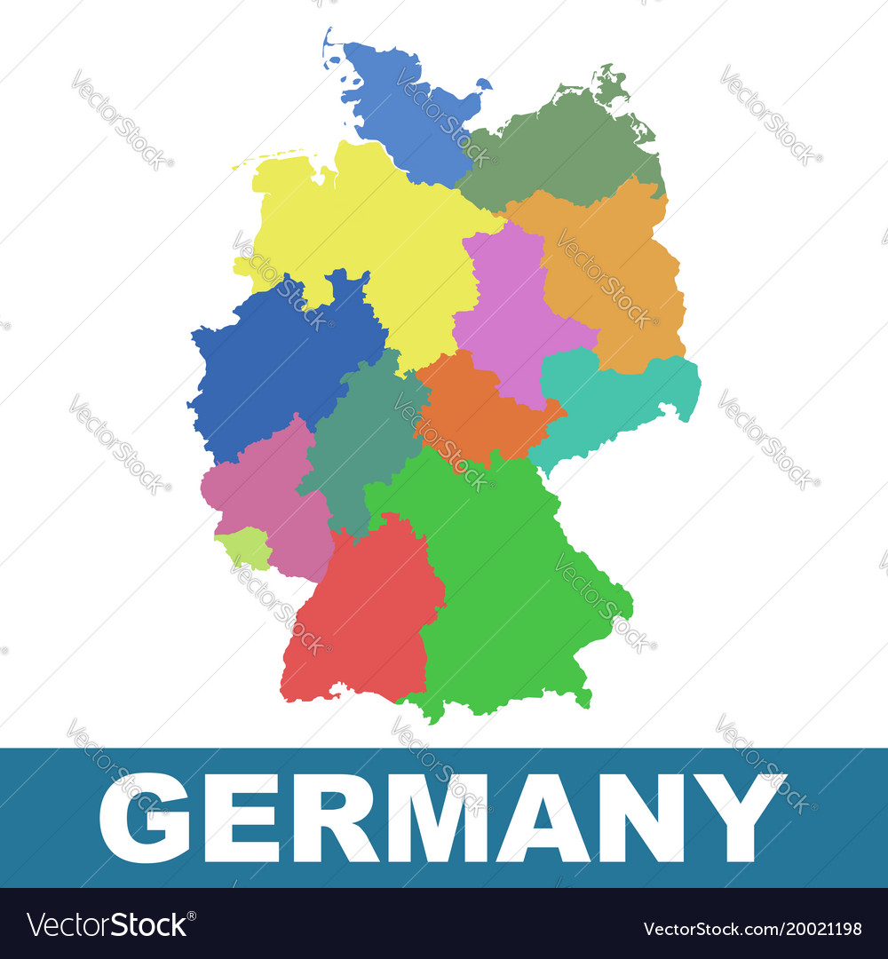 Germany map with federal states flat Royalty Free Vector