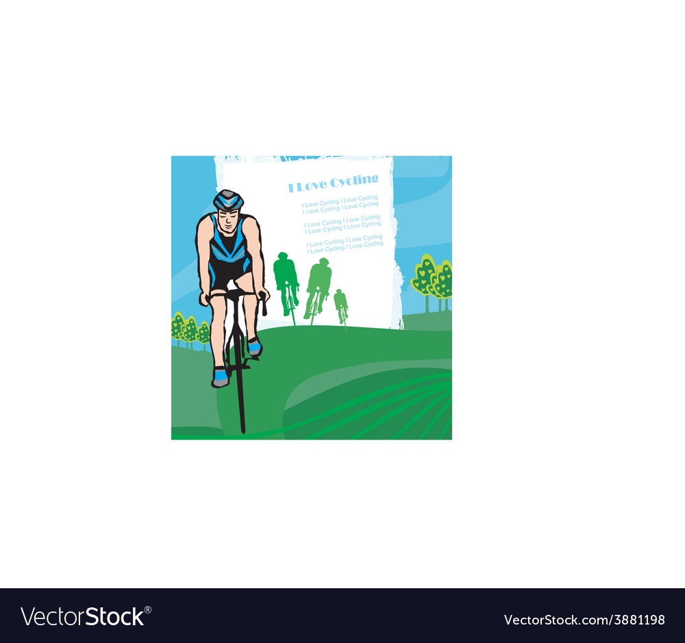 I love cycling banner - abstract frame with space vector image