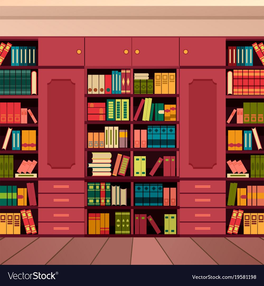 library bookshelves wall vector image - Library Bookshelves