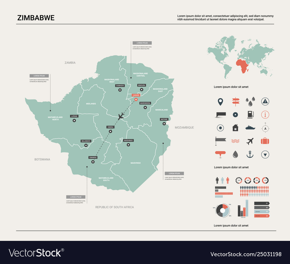 Map zimbabwe high detailed country map with