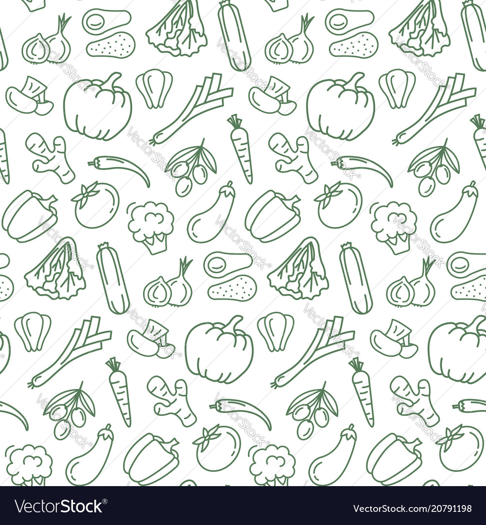 Seamless pattern with vegetarian food