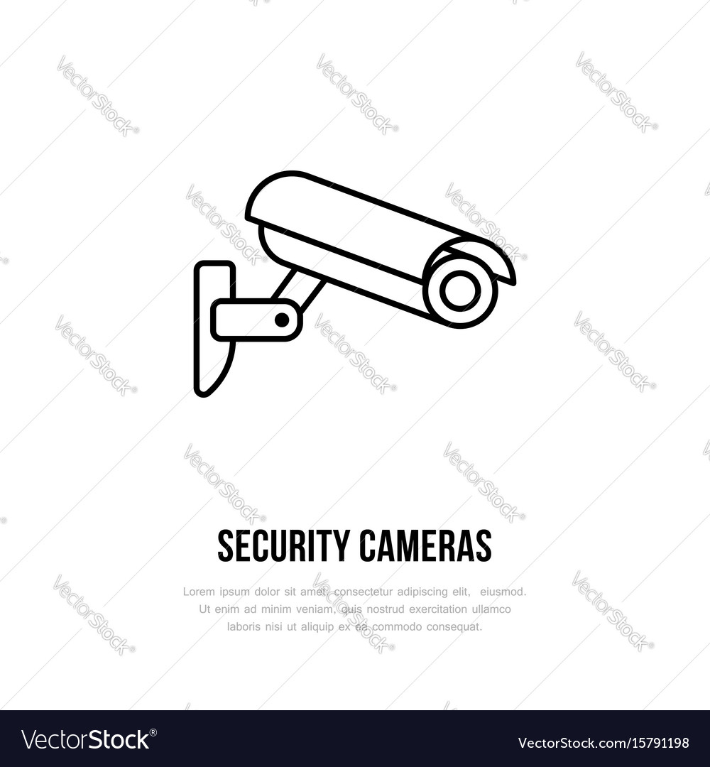Security camera flat icon safety system