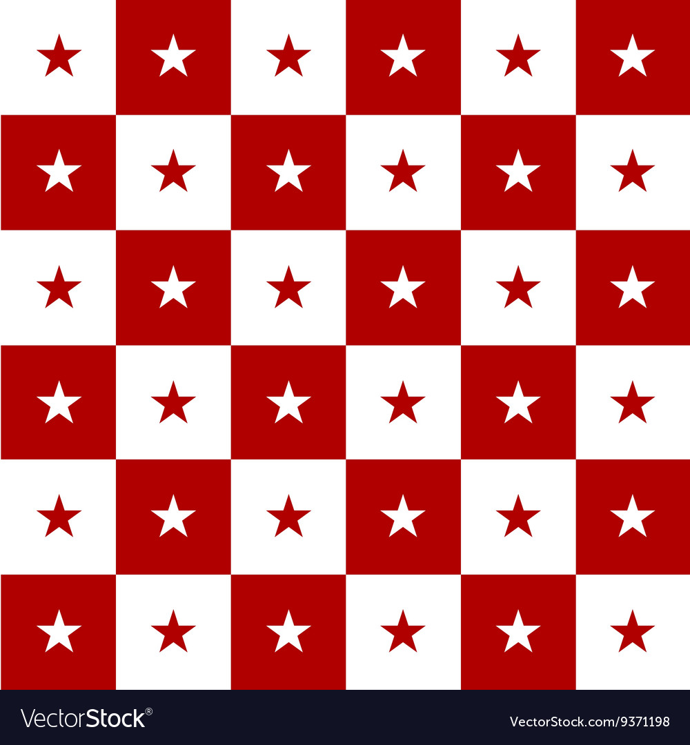 Star Red White Chess Board Background Vector Image