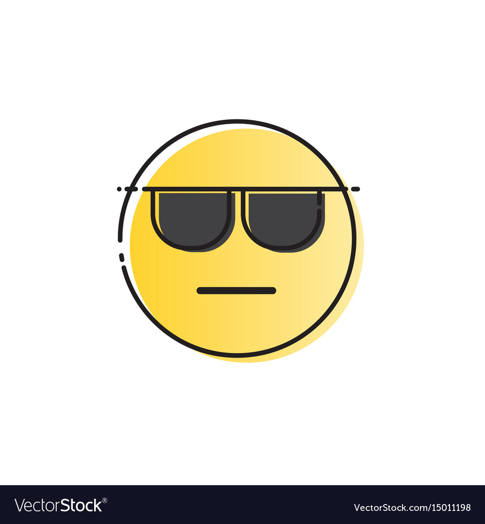 Yellow smiling cartoon face wear sunglasses people