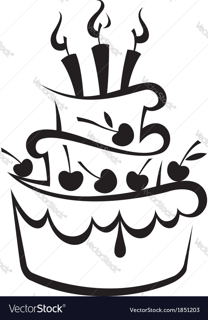 birthday cake royalty free vector image vectorstock rh vectorstock com cake vector free download cake vector black and white