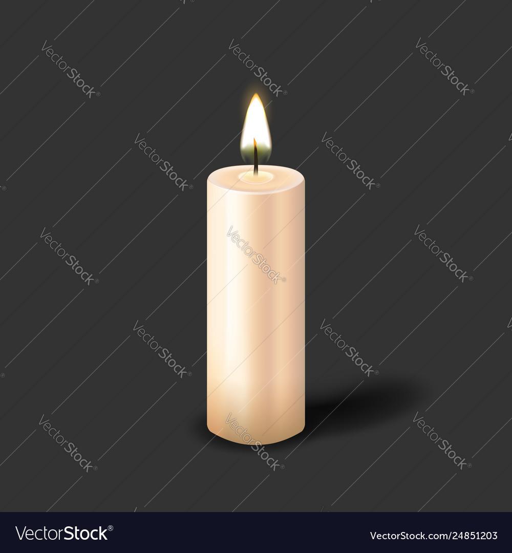 Burning realistic pillar candle