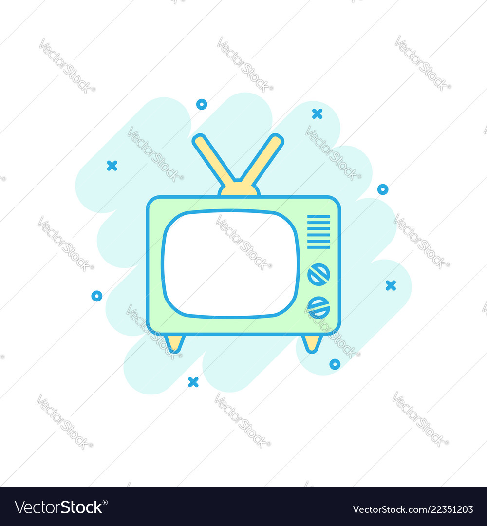 Cartoon colored tv icon in comic style television