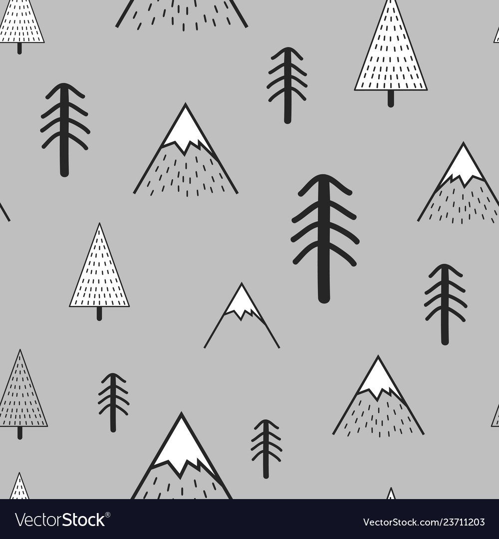 Cute hand drawn seamless pattern with trees and