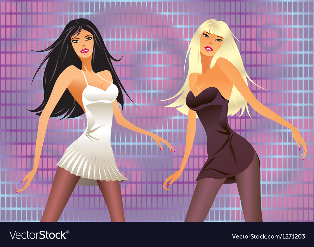Dancing girls in a laser light show vector image