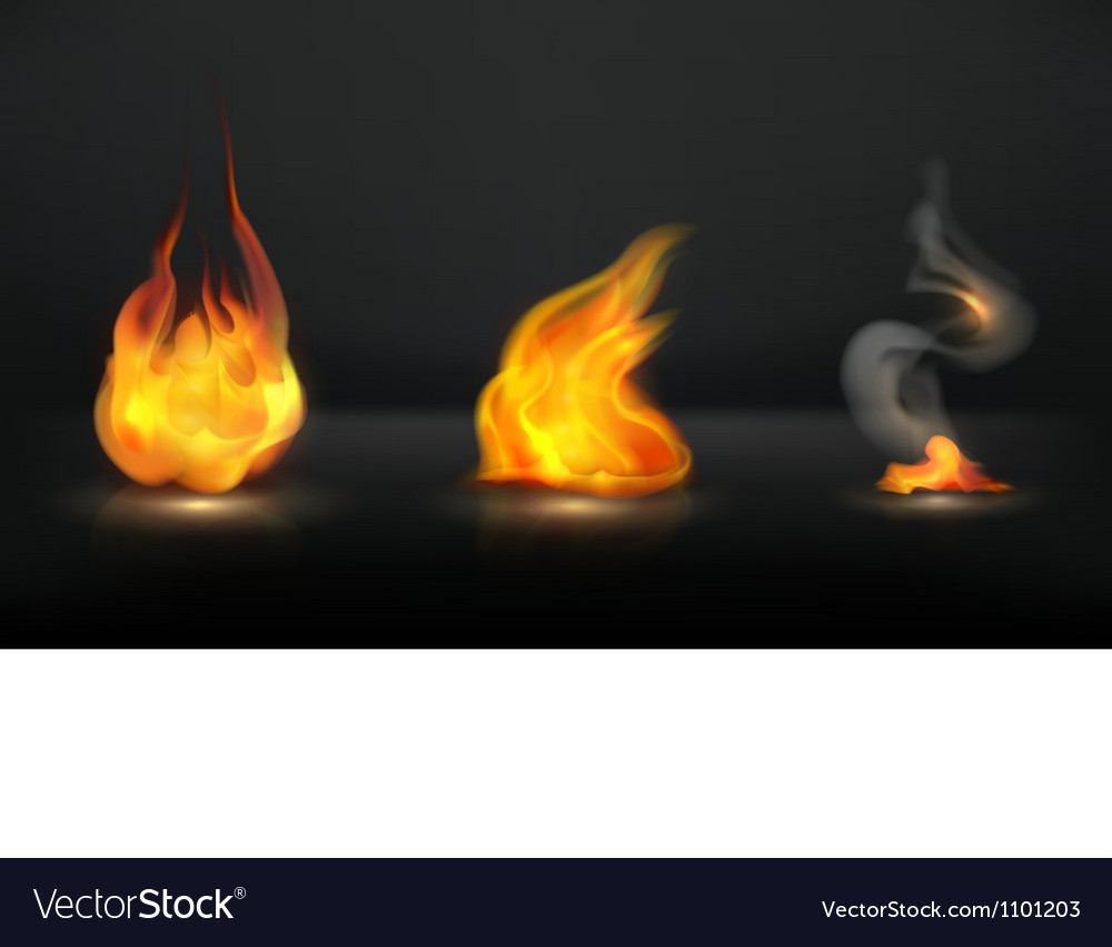 Flames set vector image