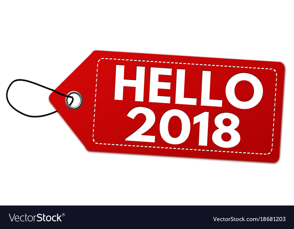 hello 2018 label or price tag royalty free vector image