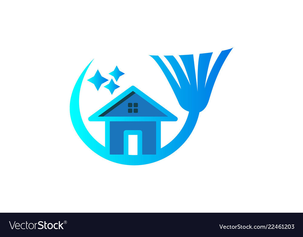 House broom cleaning logo logo inspiration