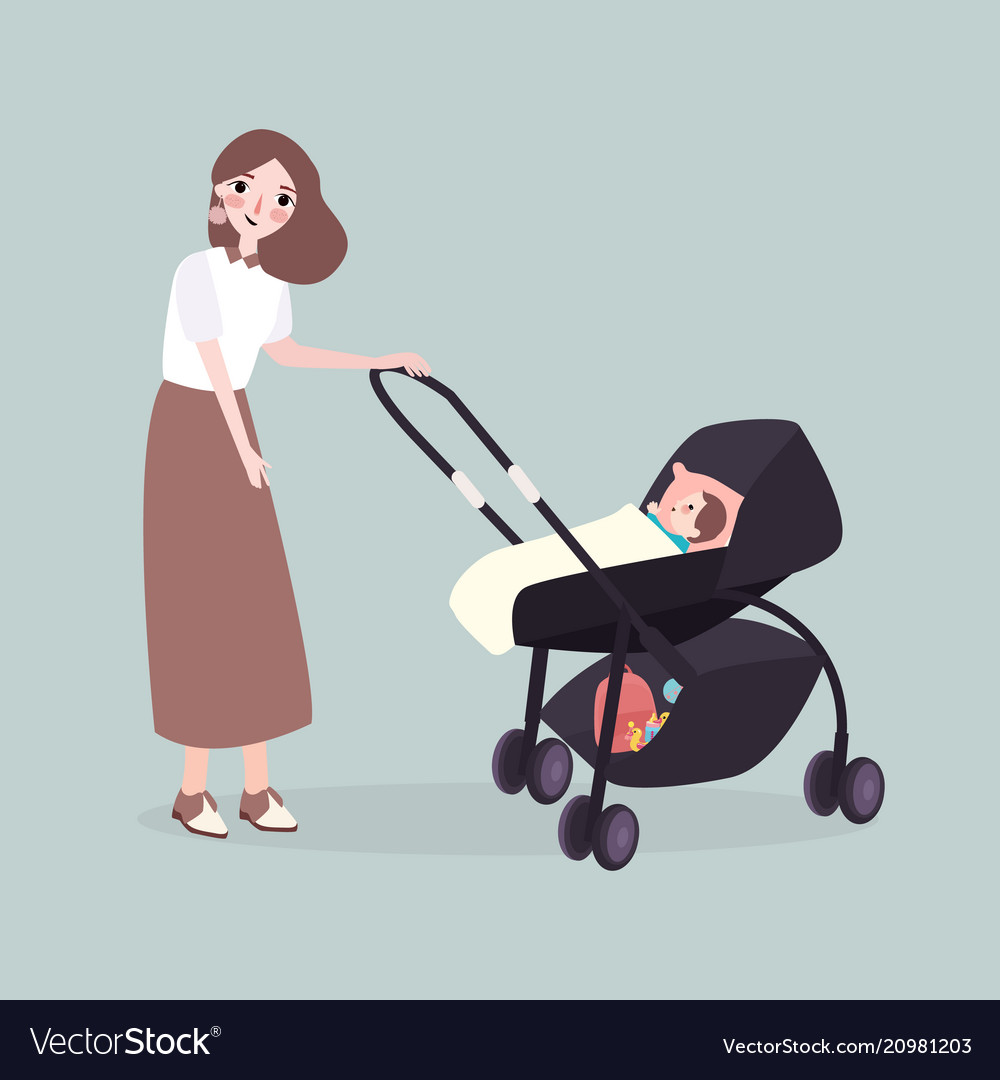 Mom walks with a stroller with her baby