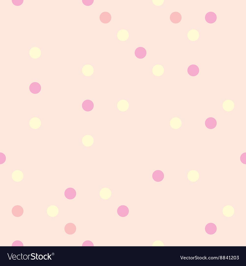 Pastel polka dots on pink background tile pattern vector image