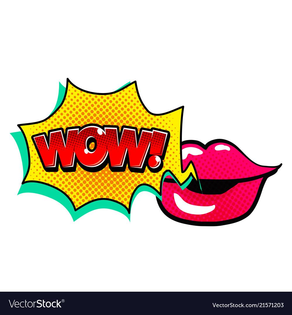Pop art lip speech wow image