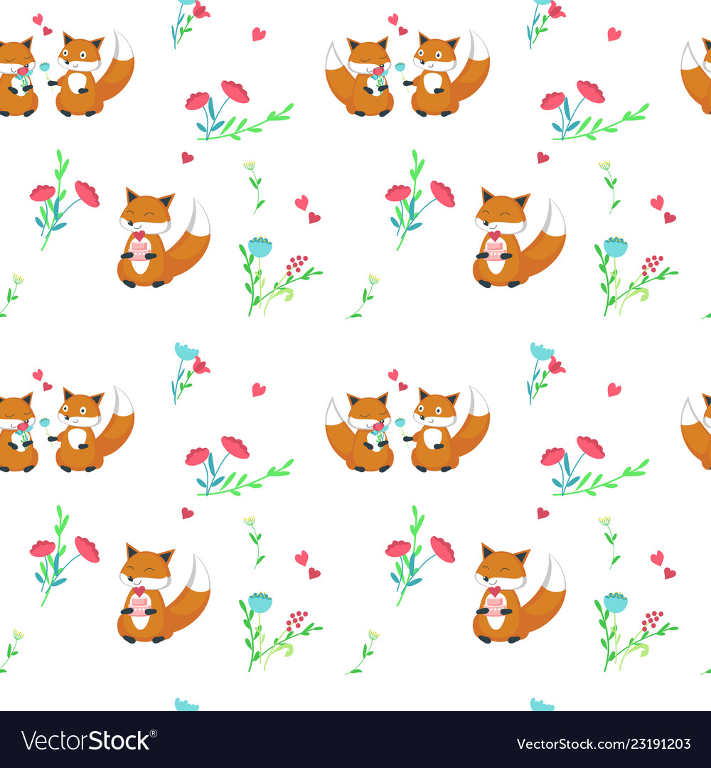 Seamless pattern with cute foxes in love