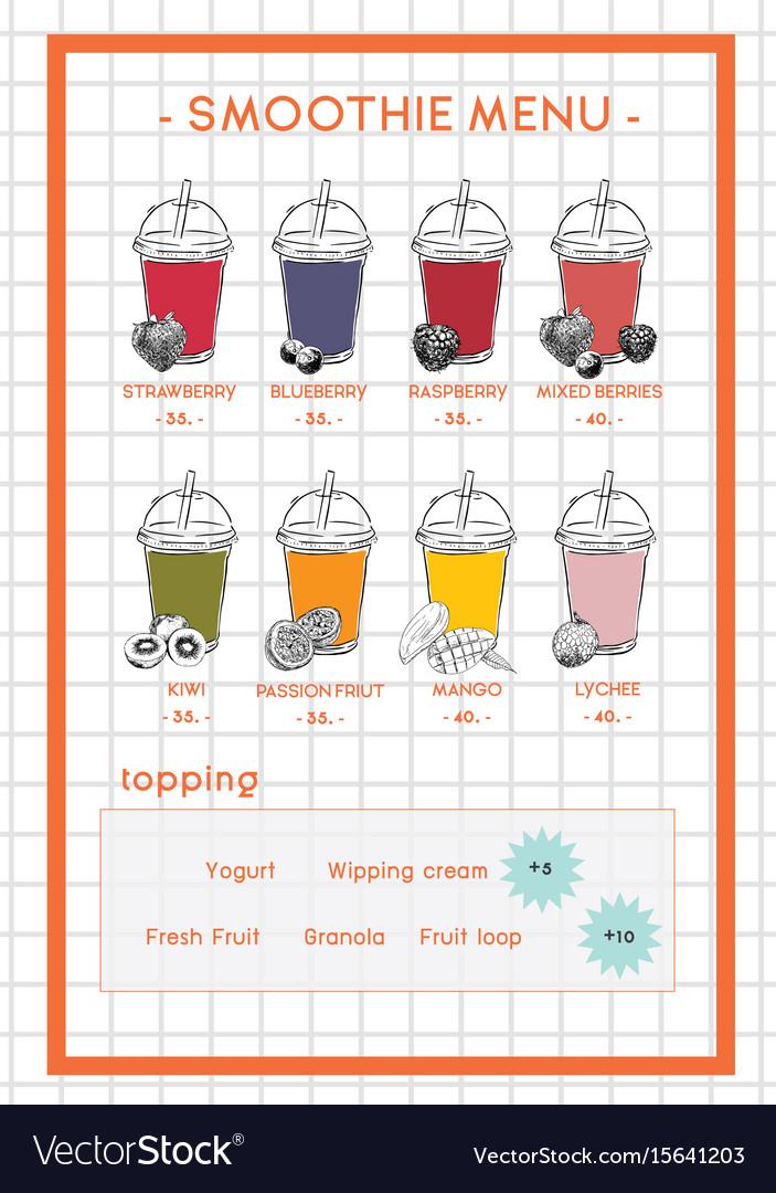 Smoothie menu for cafe and juice bar hand drawb