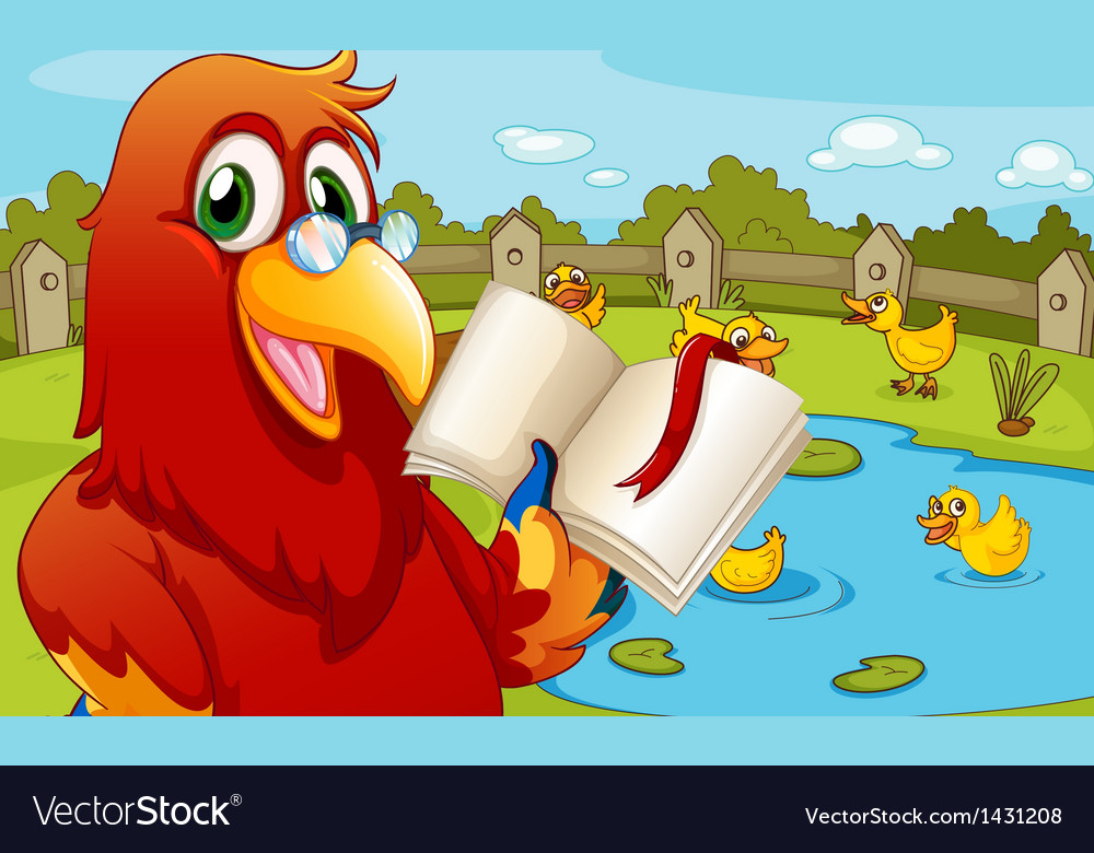 A parrot near the pond showing an empty book vector image