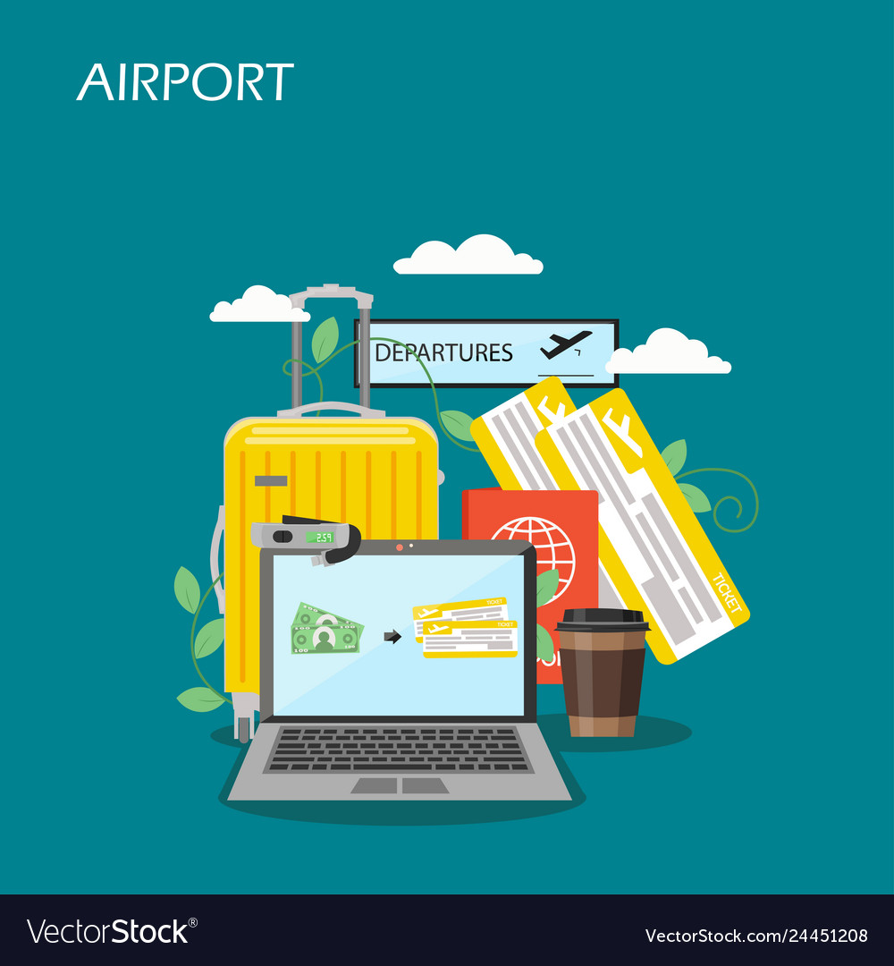 Airport concept flat style design