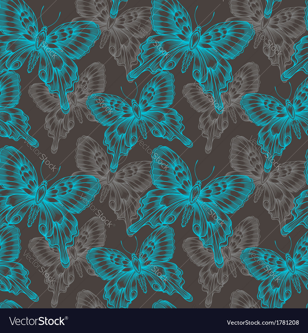 Bright seamless pattern with blue decorative vector image