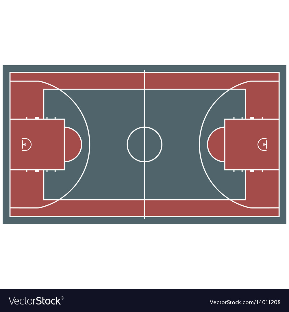 Colorful baseball court top view icon isolated on