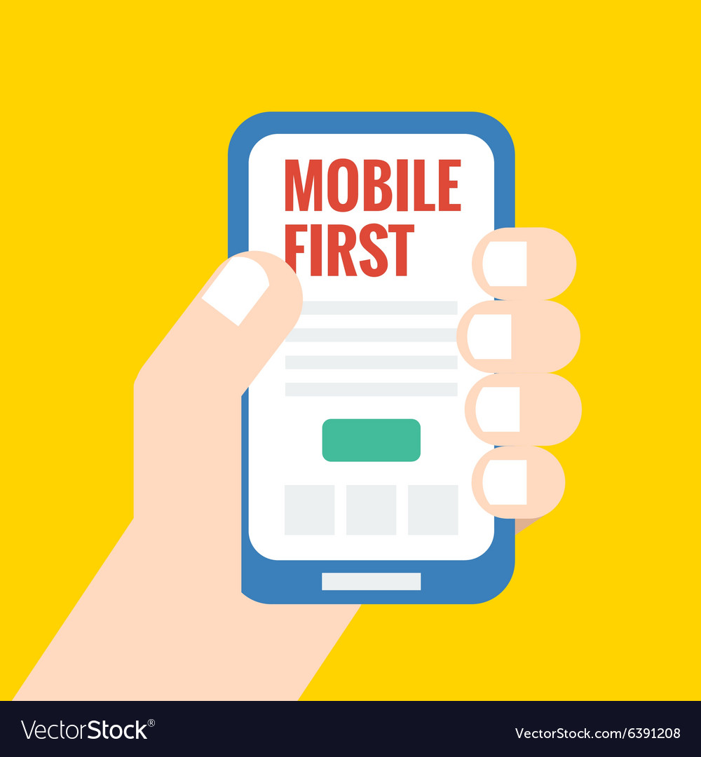 Flat style mobile first - strategy in web design vector image