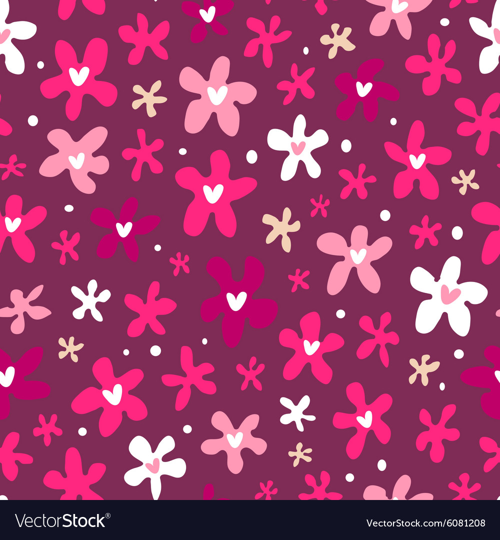 Floral seamless pattern on purple background