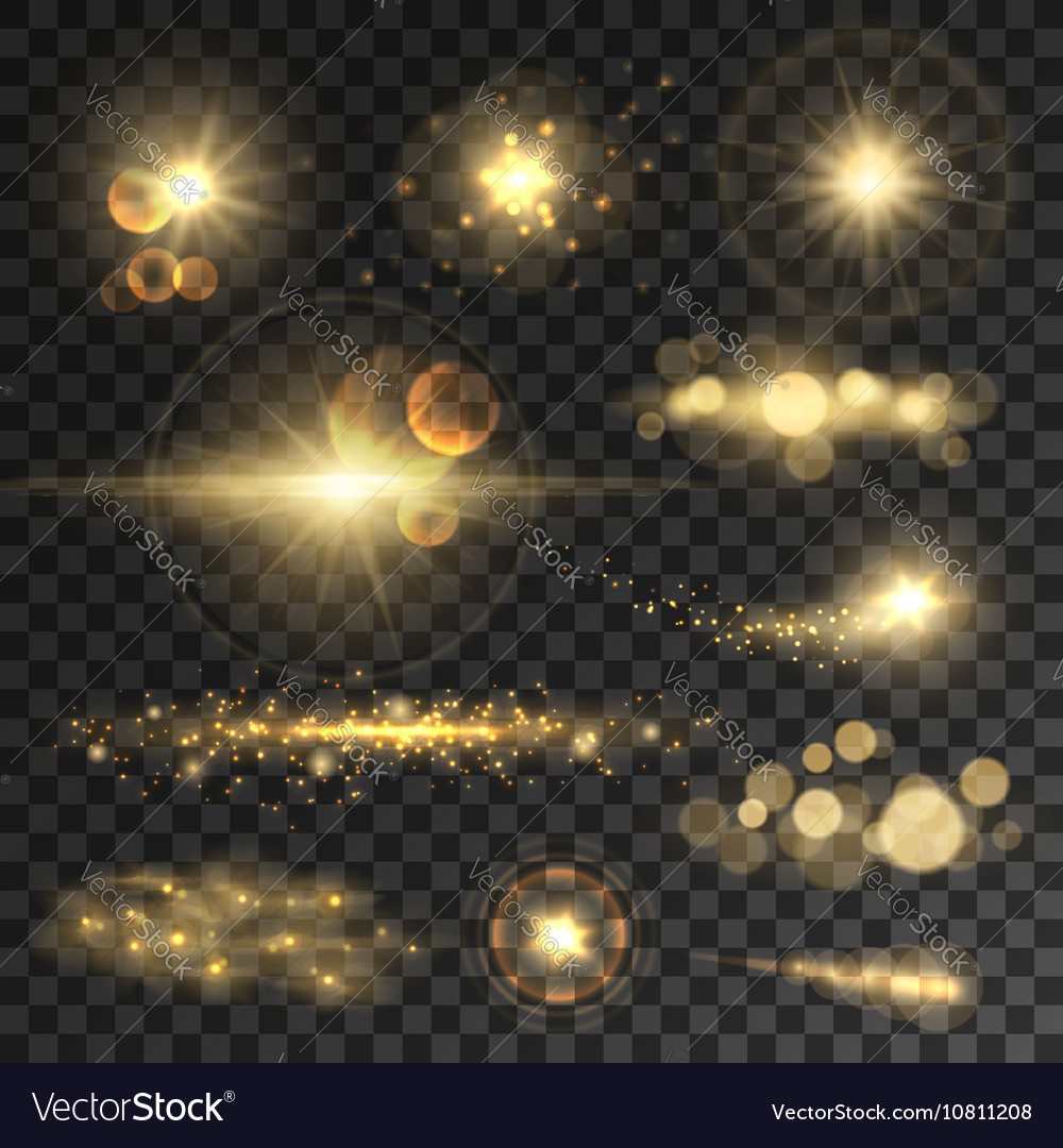 Golden glitter bokeh lights and sparkles vector image