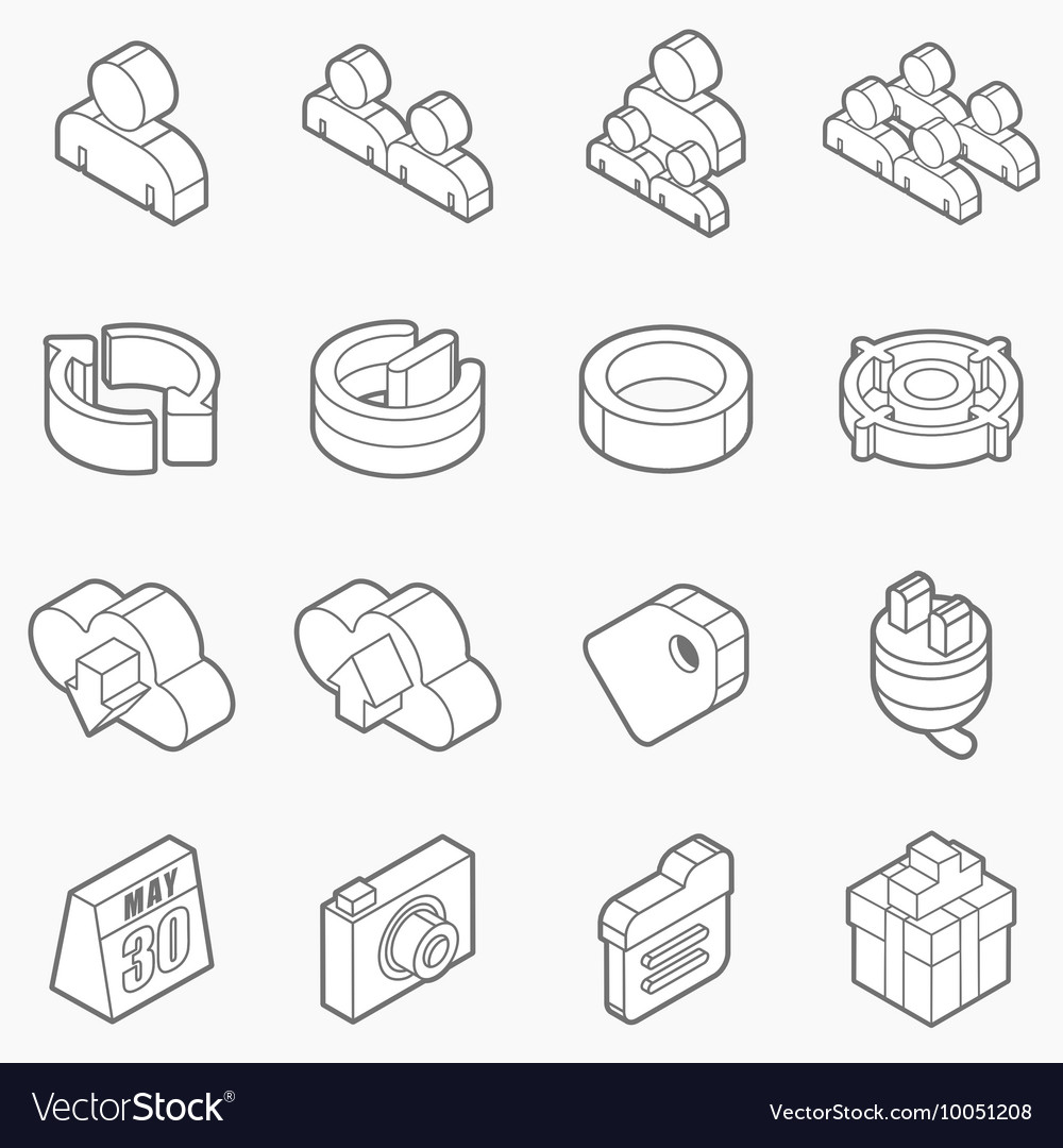 Isometric outline icons 3D pictograms